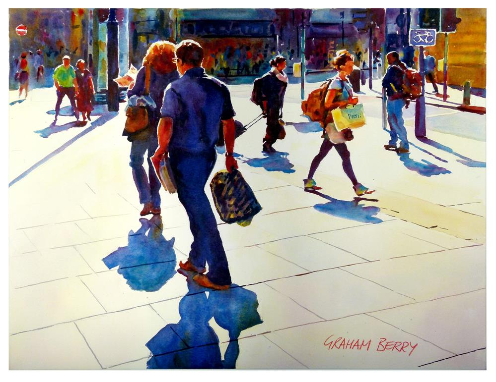 """Sunshine shoppers."" original fine art by Graham Berry"