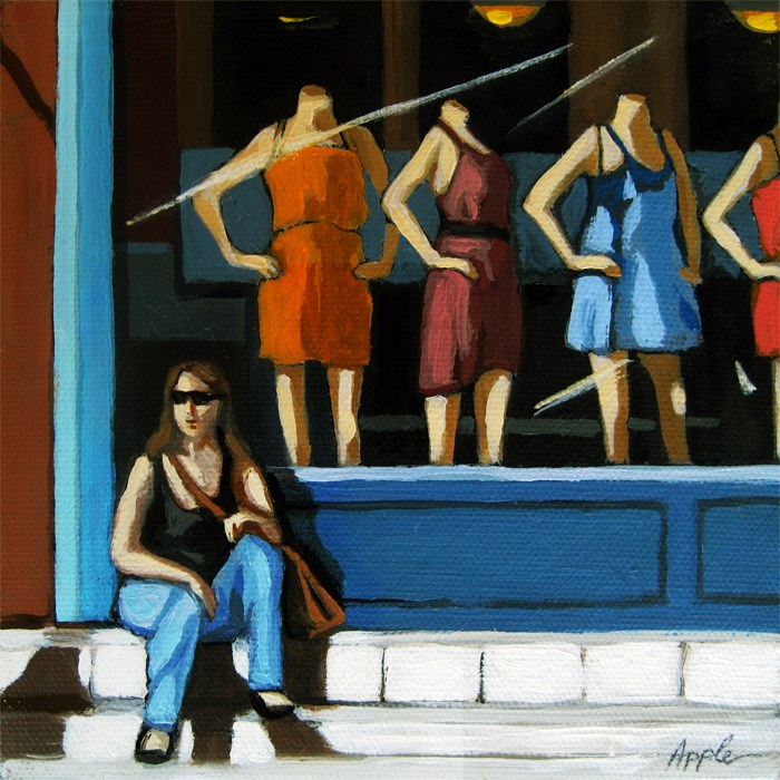 """SPECIAL!  Summer Shopping - woman with Store Windows"" original fine art by Linda Apple"
