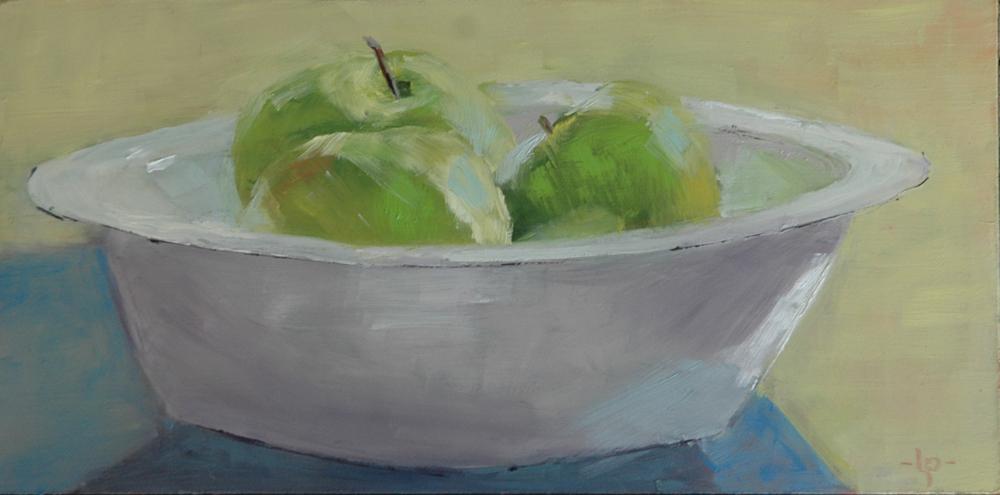 """THREE GREEN ONES"" original fine art by Linda Popple"