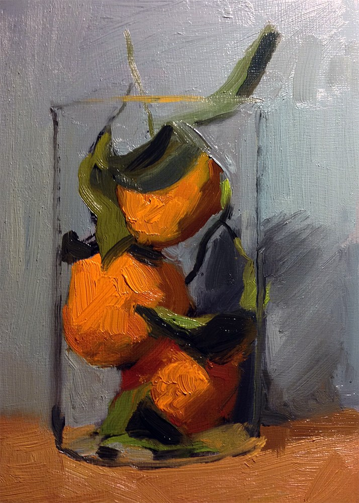 """""""Stacked Satsumas in French Press"""" original fine art by Chris Beaven"""