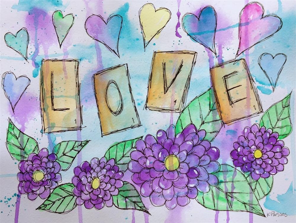 """Love, Scrabble Style"" original fine art by Kali Parsons"