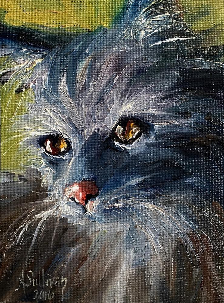 """Seriously cat painting by Alabama Artist Angela Sullivan"" original fine art by Angela Sullivan"