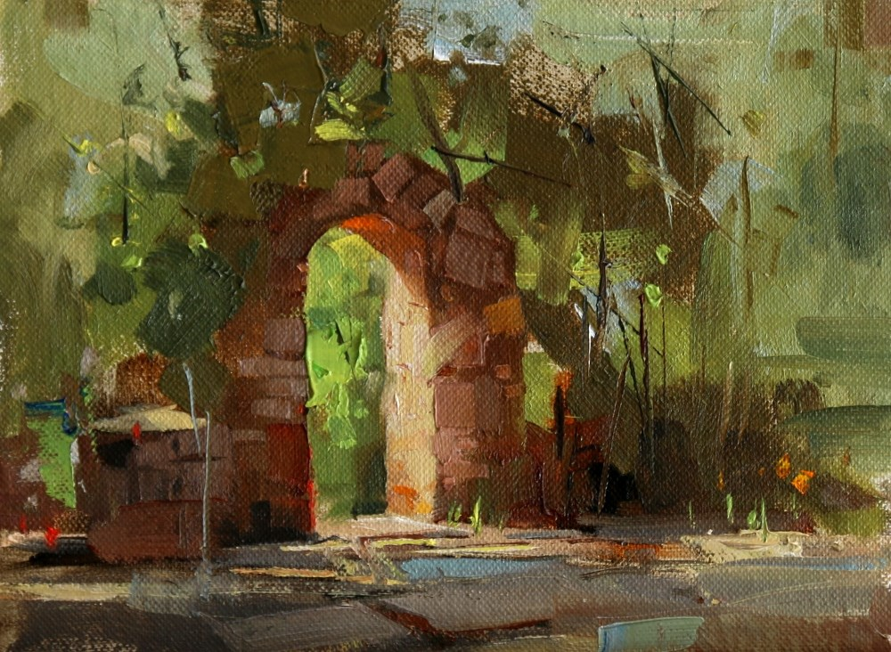 """Arch Way of Mayfield Park"" original fine art by Qiang Huang"