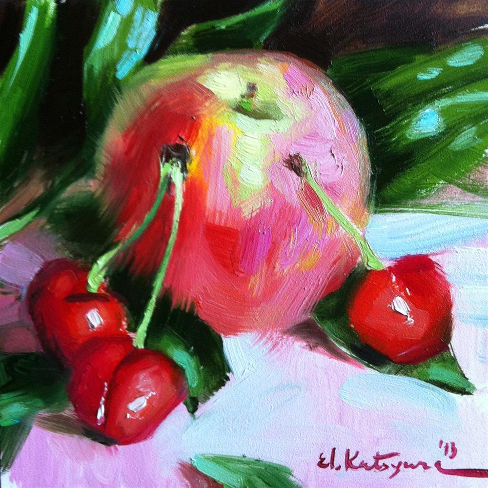 """""""Peach and Cherries"""" original fine art by Elena Katsyura"""