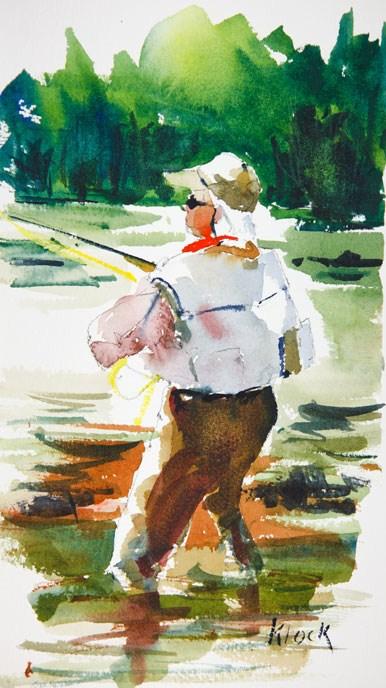 """""""Fly Fishermen #1"""" original fine art by Diane Klock"""