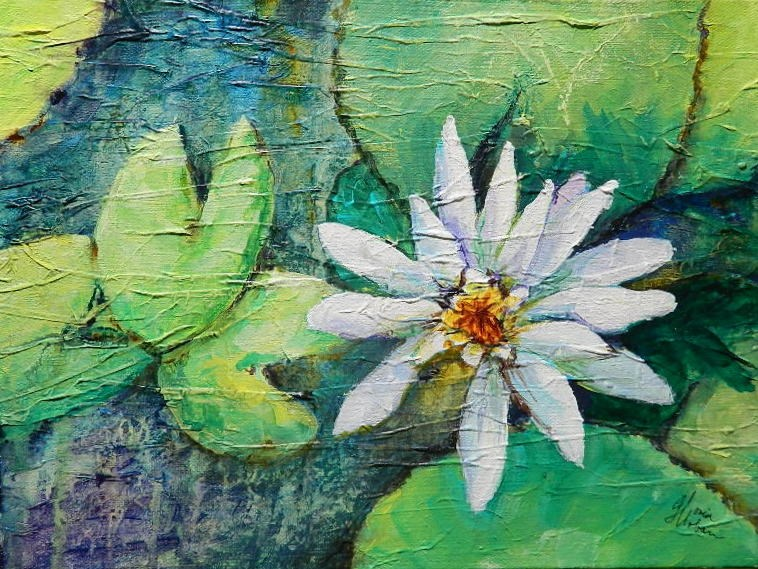 """White Water Lily"" original fine art by Gloria Urban"