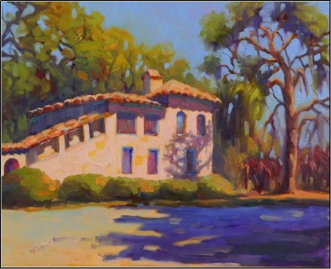 """Oak Shadows, 16x20 , oil on Panel, Maryanne Jacobsen art, Sarasota Florida, New College Sarasota,"" original fine art by Maryanne Jacobsen"