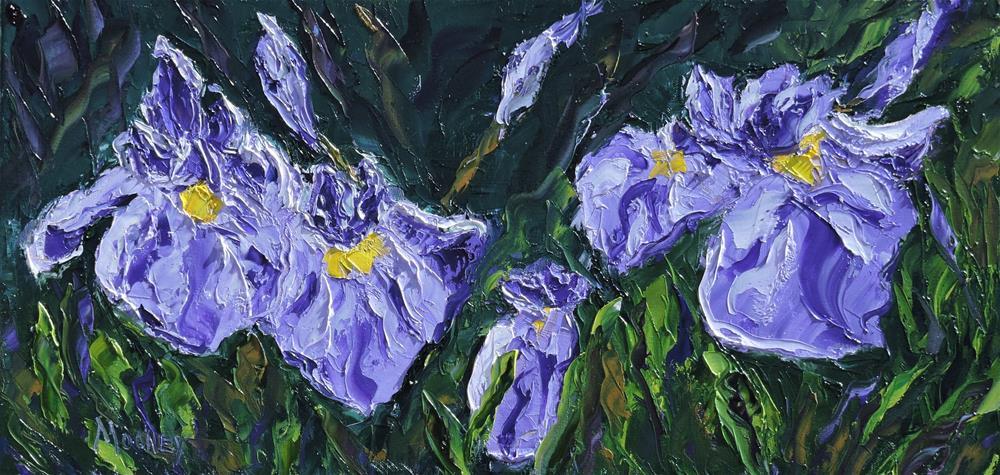 """Irises blooming"" original fine art by Linda mooney"