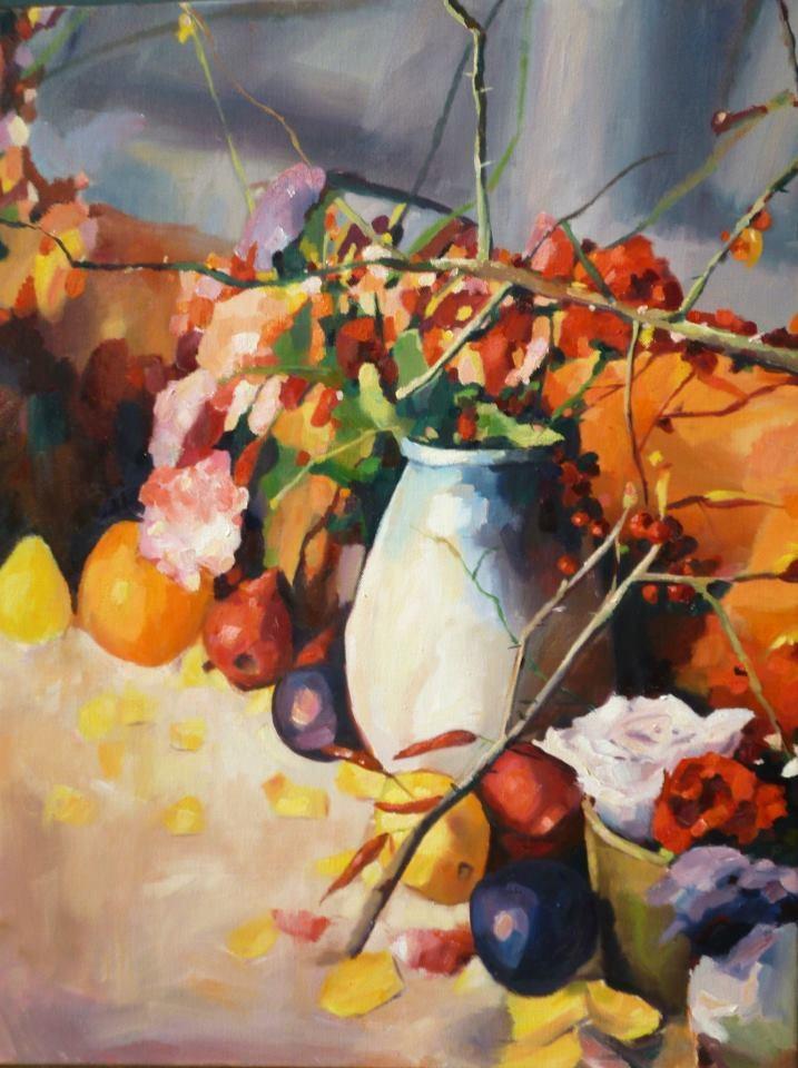 """Plums and Petals"" original fine art by Nava Judith"