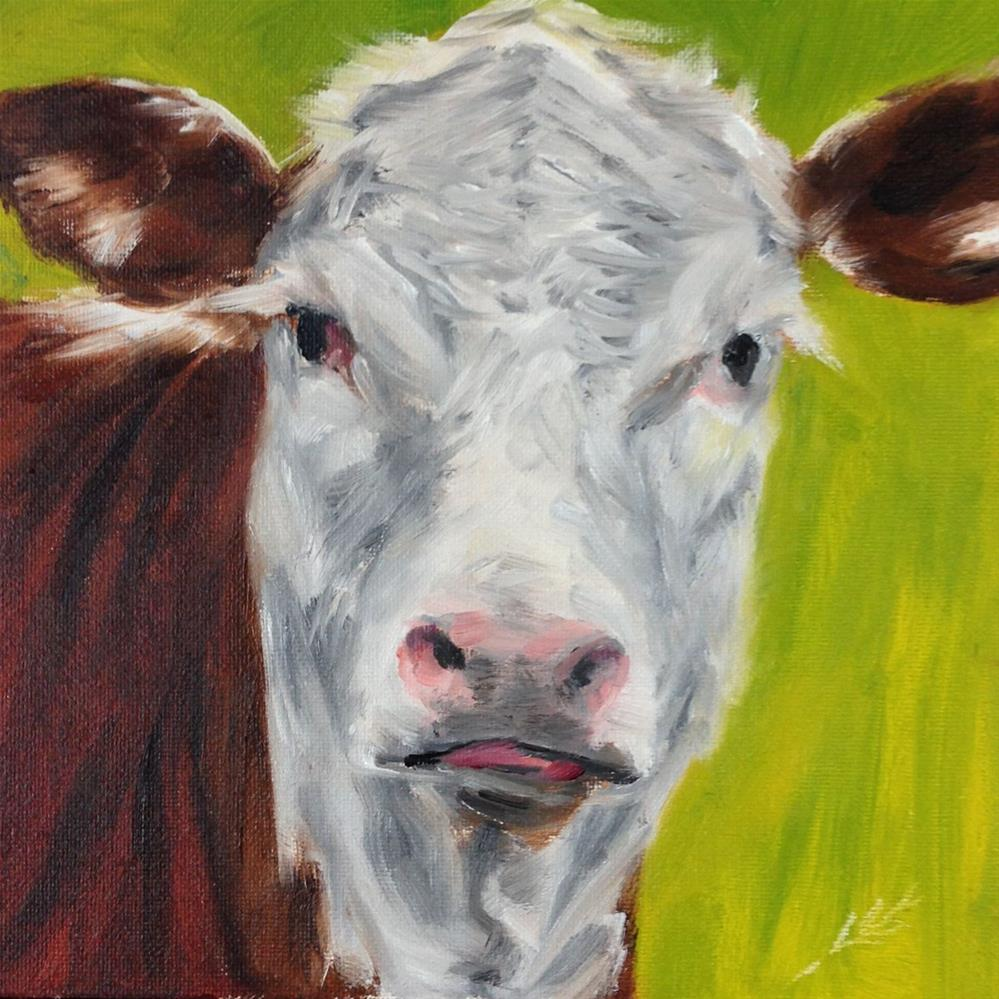 """Moo"" original fine art by Linda Lowery"