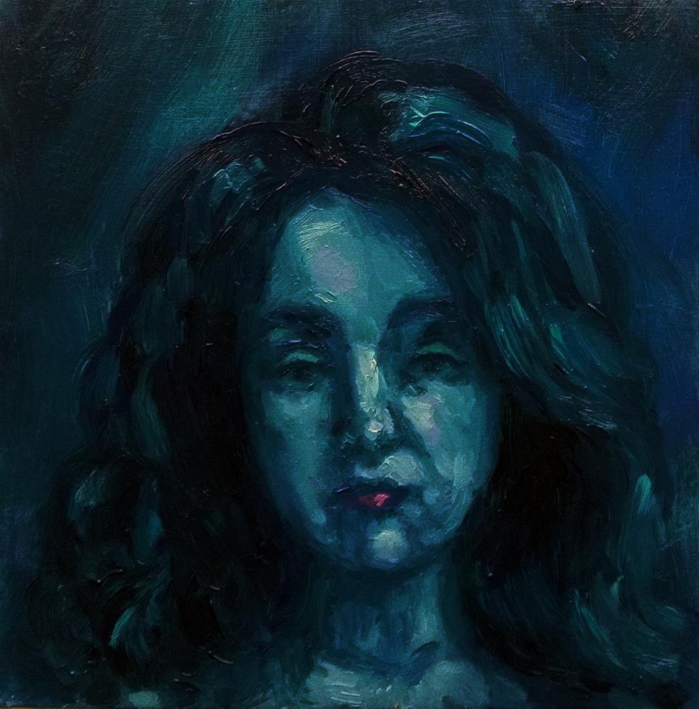 """""""In blue"""" original fine art by Aleksandra Uzarek"""