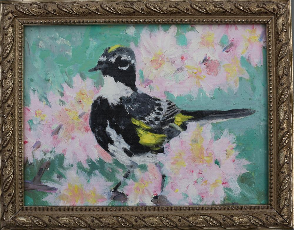 """Cherry Blossoms and Warbler"" original fine art by Michael Saunders"