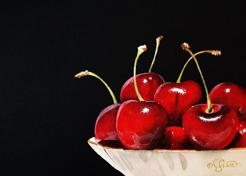 """Bowl of Cherries"" original fine art by Jacqueline Gnott, whs"