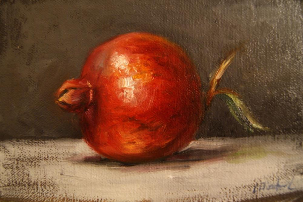 """Pomegranate with Leaf ,  Oil on 4x6 Linen Panel"" original fine art by Carolina Elizabeth"