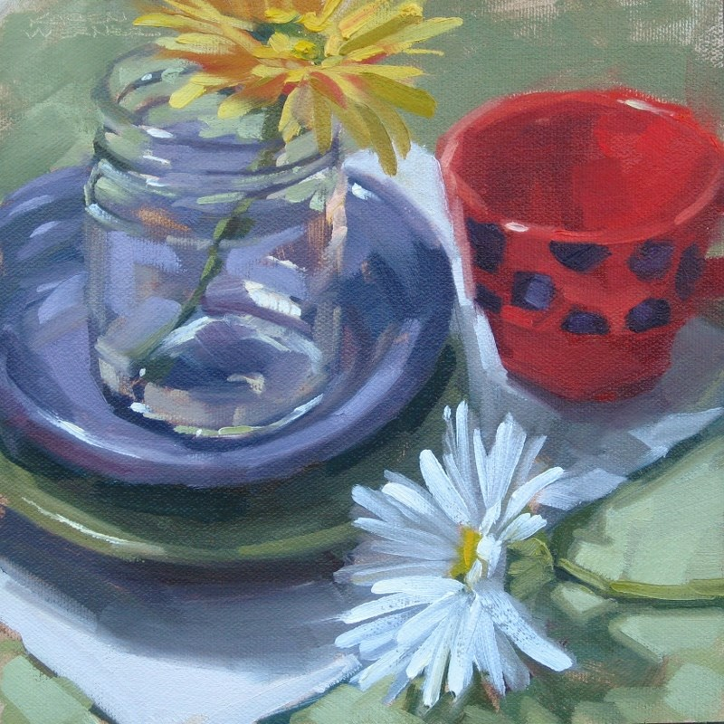 """""""Dots & Daisies"""" original fine art by Karen Werner"""
