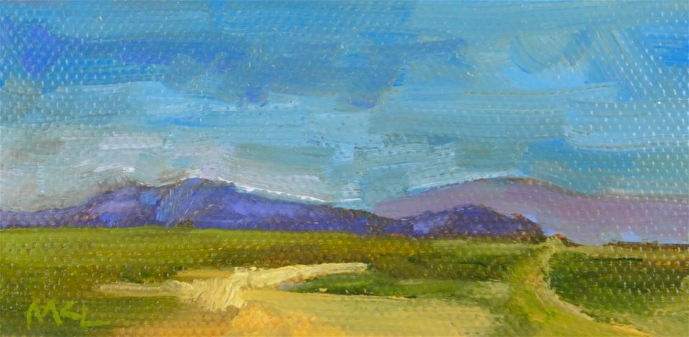 """Yolo Causeway Mountains"" original fine art by Marlene Lee"