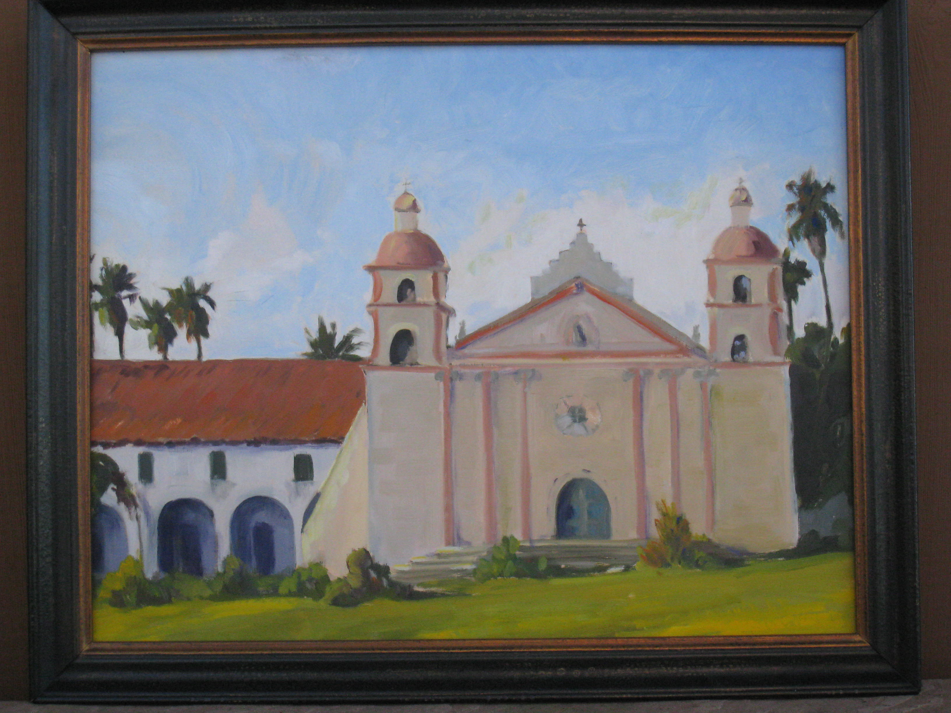 """Santa Barbara Mission"" original fine art by Leigh Alexandra Sparks"