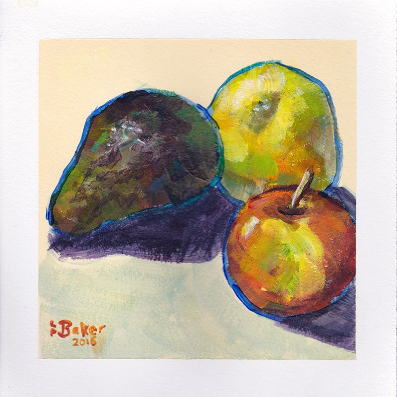 """Still Life with avocado, lemon and apple"" original fine art by Lindsay Baker"
