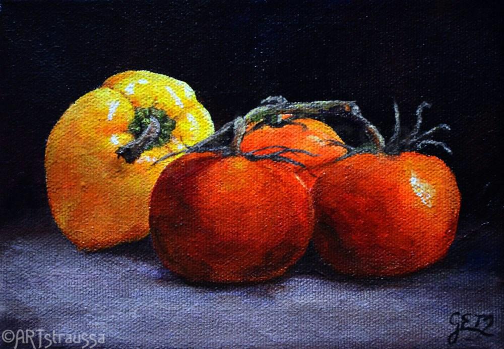 """""""Tomato Pepper Medley (Charity)"""" original fine art by Gloria Ester"""
