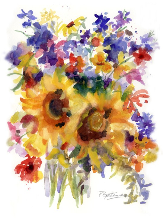 Sunflower Mix original fine art by Pamela Gatens