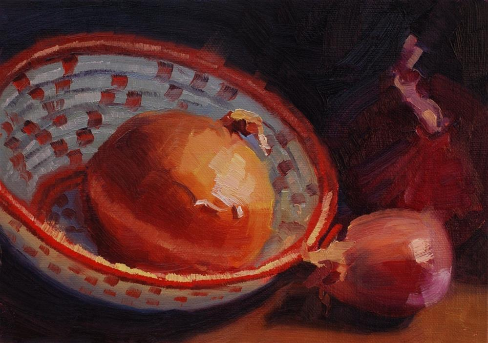 """Rwandan Basket with Onions and a Shallot"" original fine art by Susan McManamen"