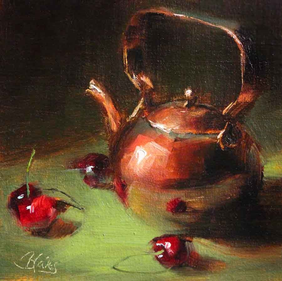 """Copper Teapot and Cherries"" original fine art by Pamela Blaies"