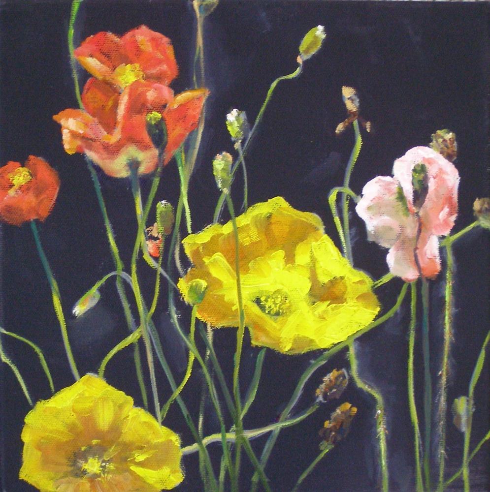 """""""Poppies at Brookgreen, 10x10 Oil on Canvas"""" original fine art by Carmen Beecher"""