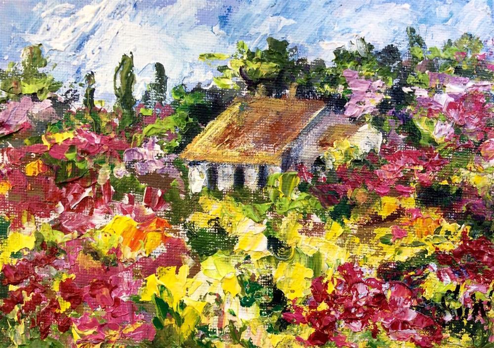 """""""Flower Cottage"""" original fine art by Sonia von Walter"""