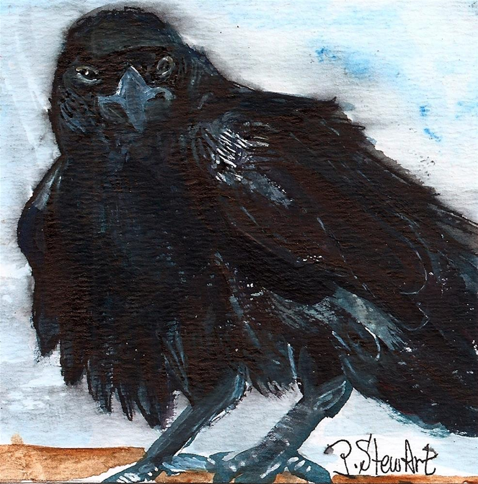 """4x4 The Raven Challenge, Acrylic on heavy paper, with liner work in pen"" original fine art by Penny Lee StewArt"