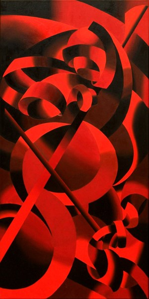 """Mark Webster - Red Cellist - Abstract Geometric Futurist Figurative Oil Painting"" original fine art by Mark Webster"