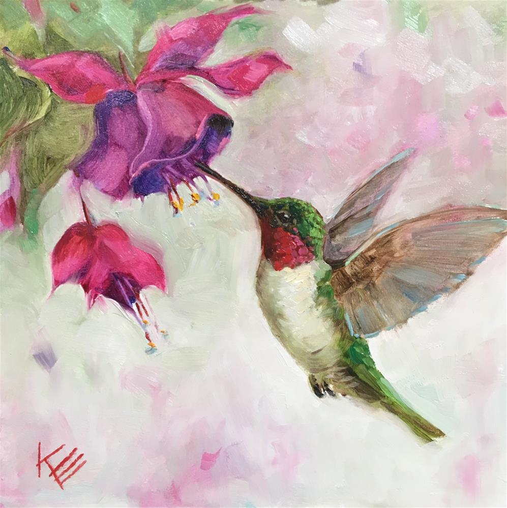 """Hummingbird & Fushia"" original fine art by Krista Eaton"