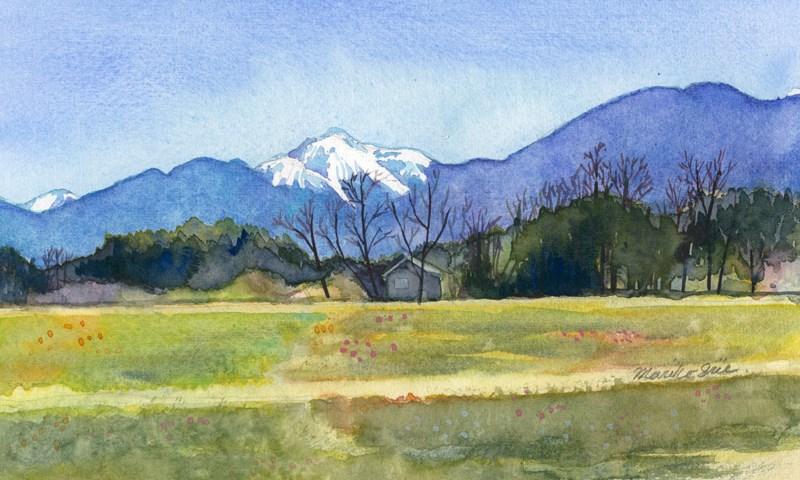 """View of Mt. Kaikoma"" original fine art by Mariko Irie"