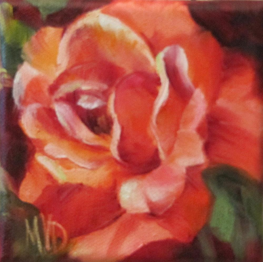 """Vermillion Rose"" original fine art by Mary  Van Deman"