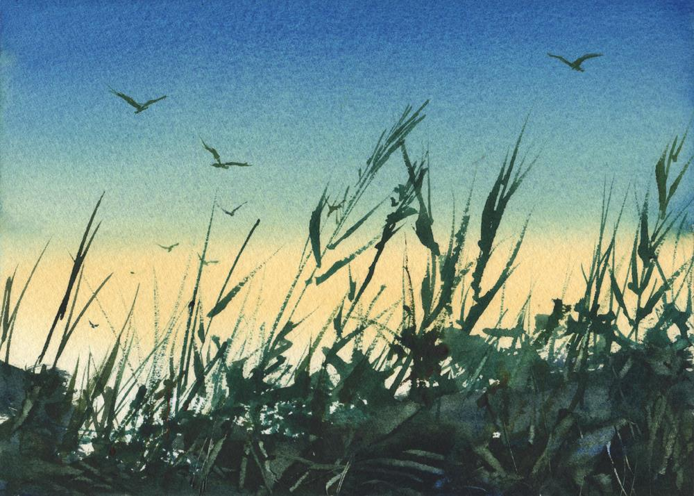"""Twilight in Stone Harbor"" original fine art by Linda Henry"