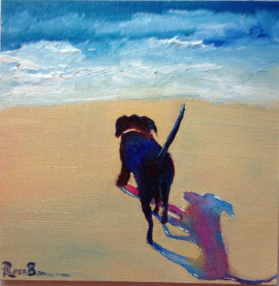 """My Dog at the Beach"" original fine art by Rose Brenner"