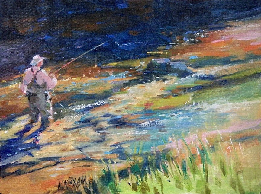 """Almost Heaven - Fly Fishing on the Big Horn River"" original fine art by Mary Maxam"