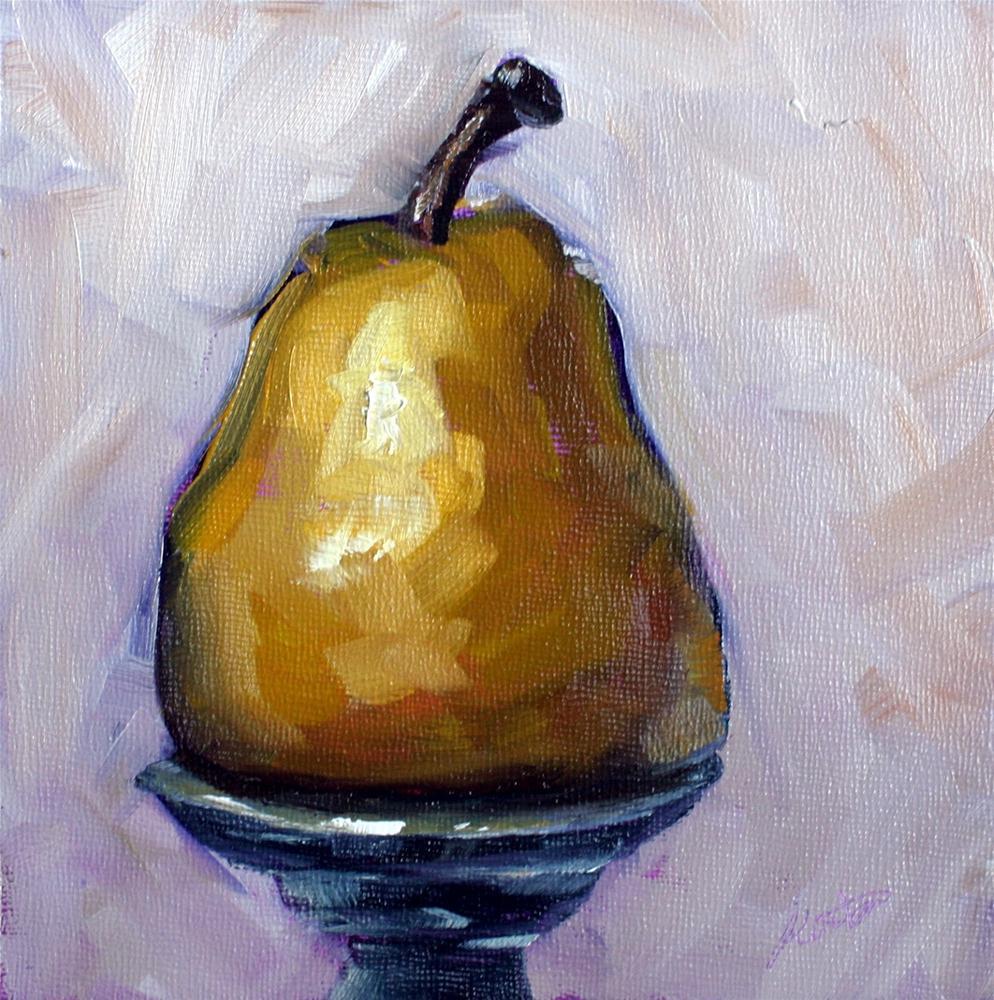 """""""Pear on a Pedestal"""" original fine art by Kristen Dukat"""