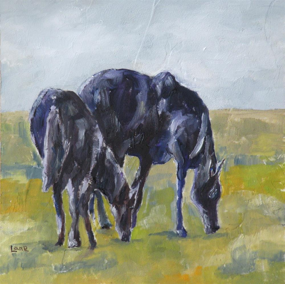 """SHADOW HORSES ORIGINAL 4X4 OIL ON MINI FOR MY ETSY SHOP © SAUNDRA LANE GALLOWAY"" original fine art by Saundra Lane Galloway"