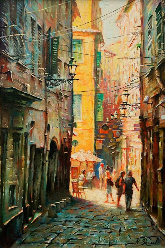 """Narrow street in Provence"" original fine art by Nick Sarazan"