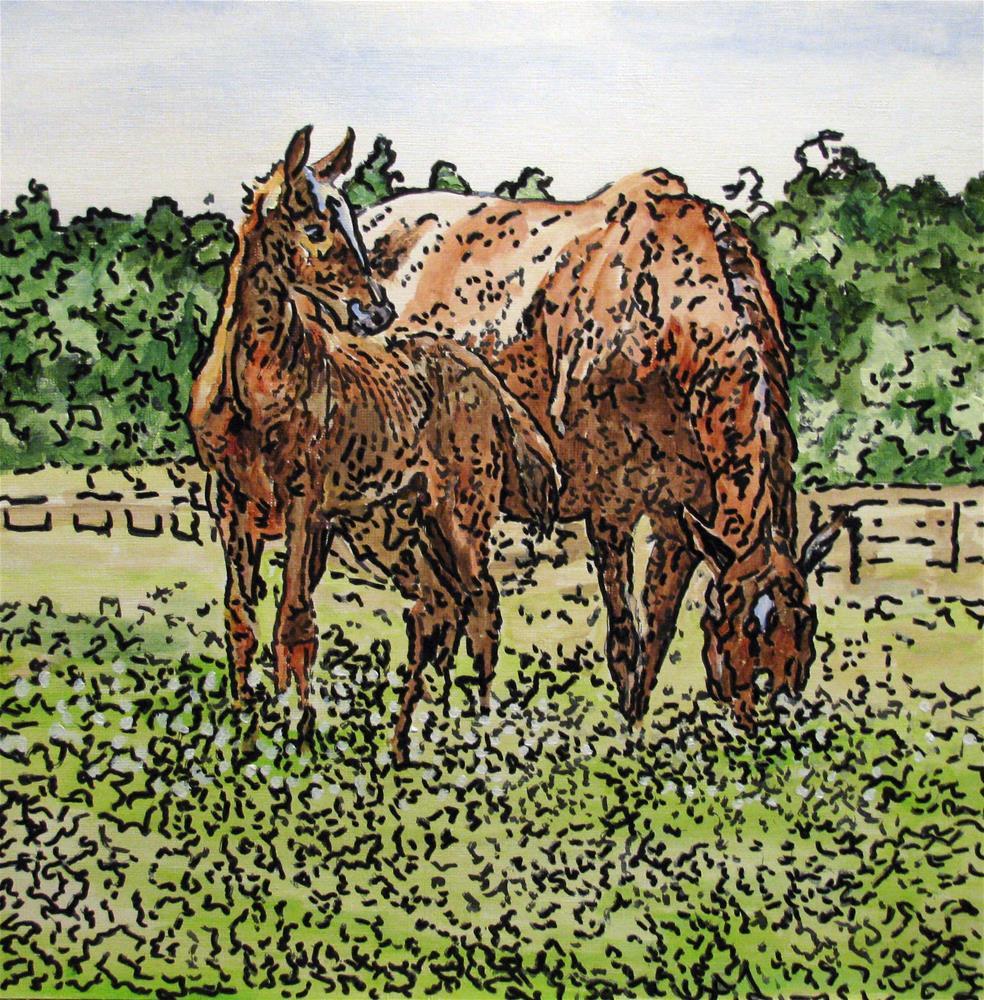 """Foal With Mom"" original fine art by Nan Johnson"