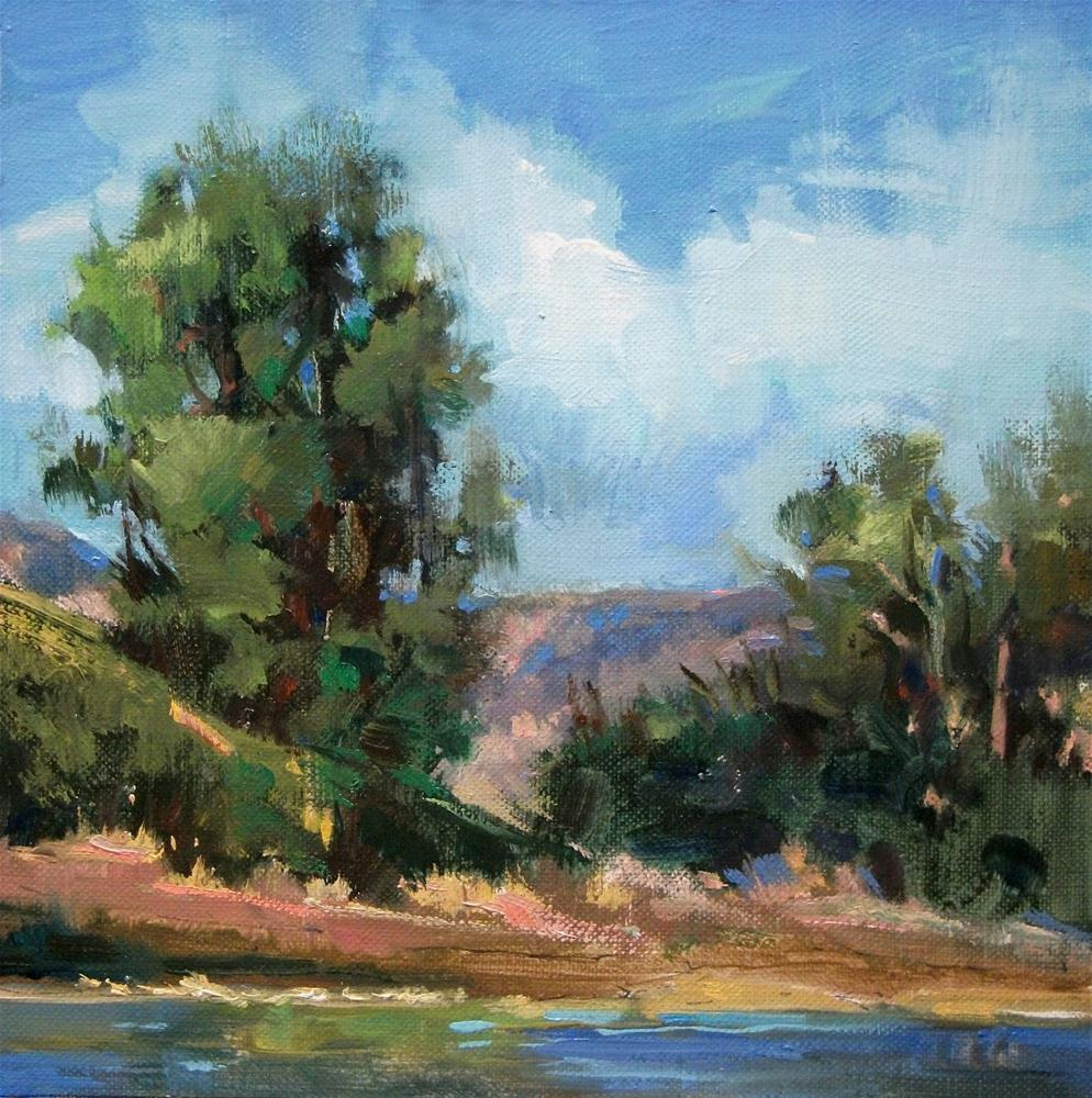 """Cottonwoods Against A Blue Sky - oil landscape"" original fine art by Mary Maxam"