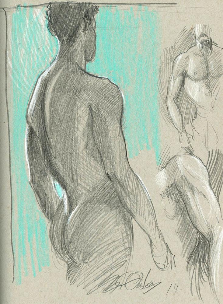 """""""Male Figure Studies (life drawing session)"""" original fine art by Chris Ousley"""