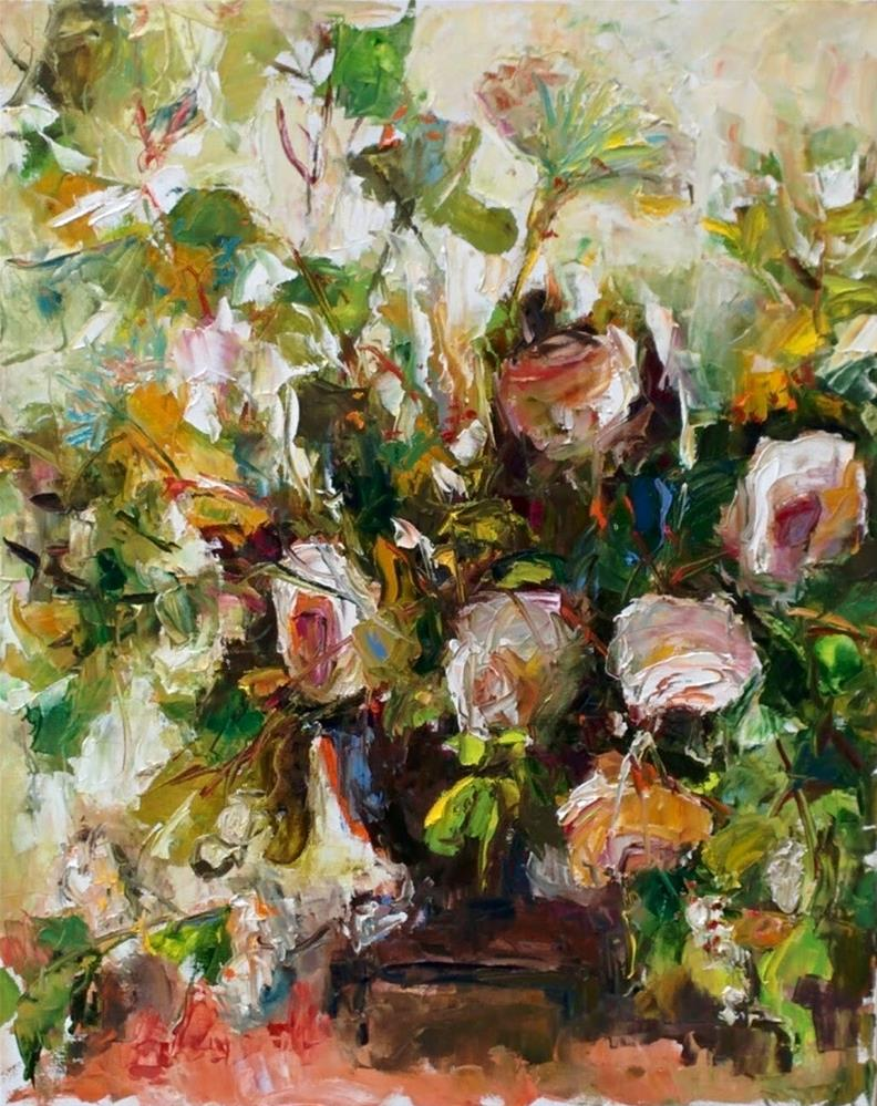 """Bouquet in White"" original fine art by pepa sand"
