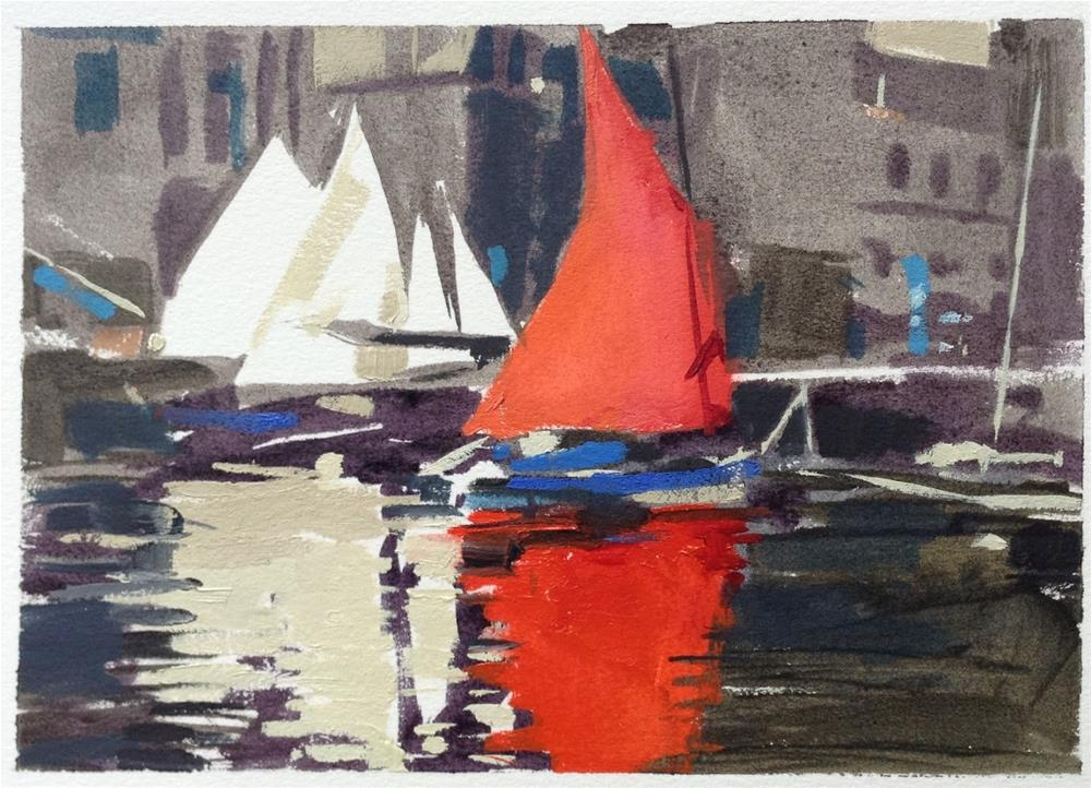 """Red red sail"" original fine art by Haidee-Jo Summers ROI"