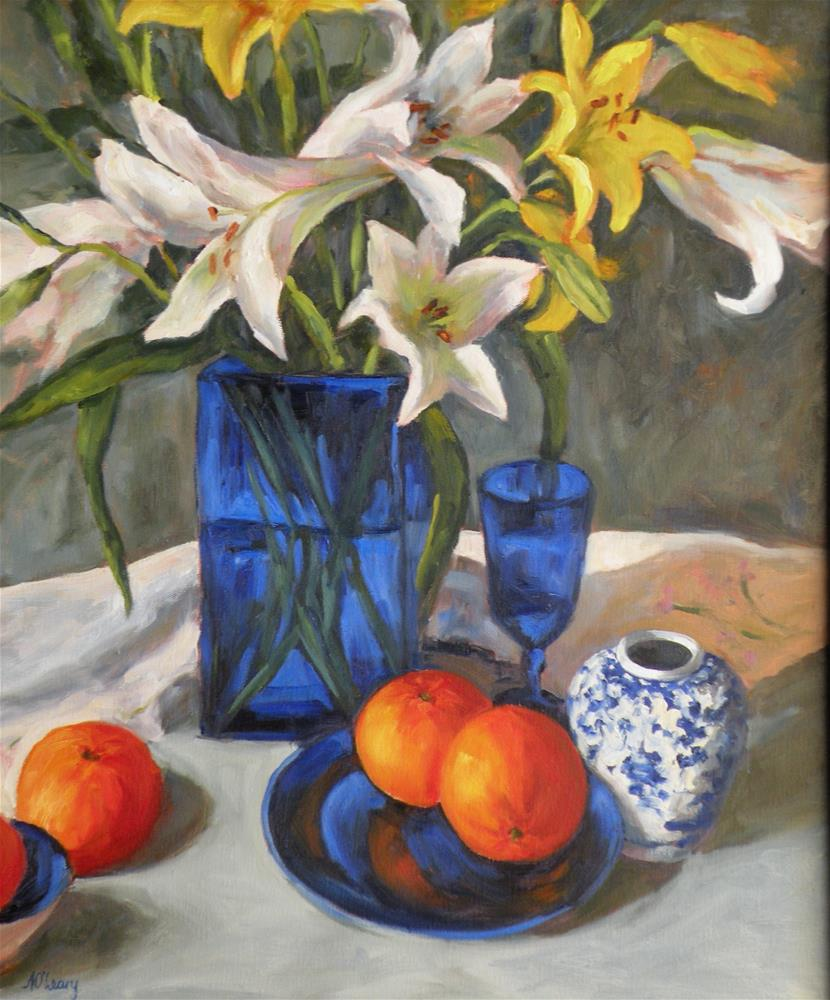 """Lilies and Cobalt"" original fine art by Alice O'Leary"