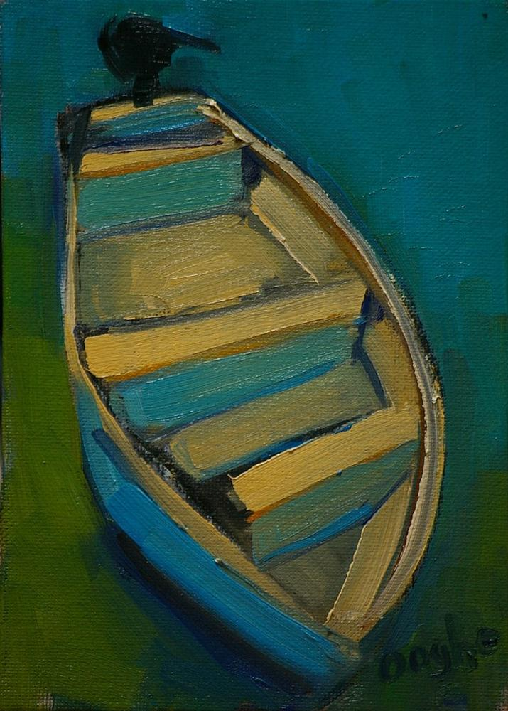 """Boat in Blue-Green Shallows"" original fine art by Angela Ooghe"
