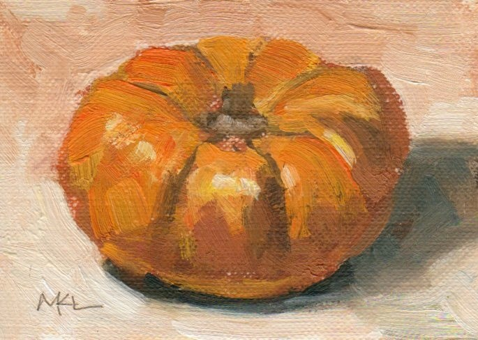 """Orange Pumpkin"" original fine art by Marlene Lee"
