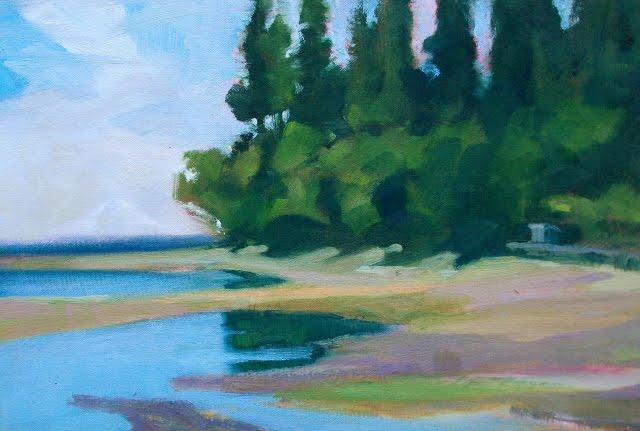 """Eglon Beach  Jim Lamb workshop, pleinair landscape painting,"" original fine art by Robin Weiss"