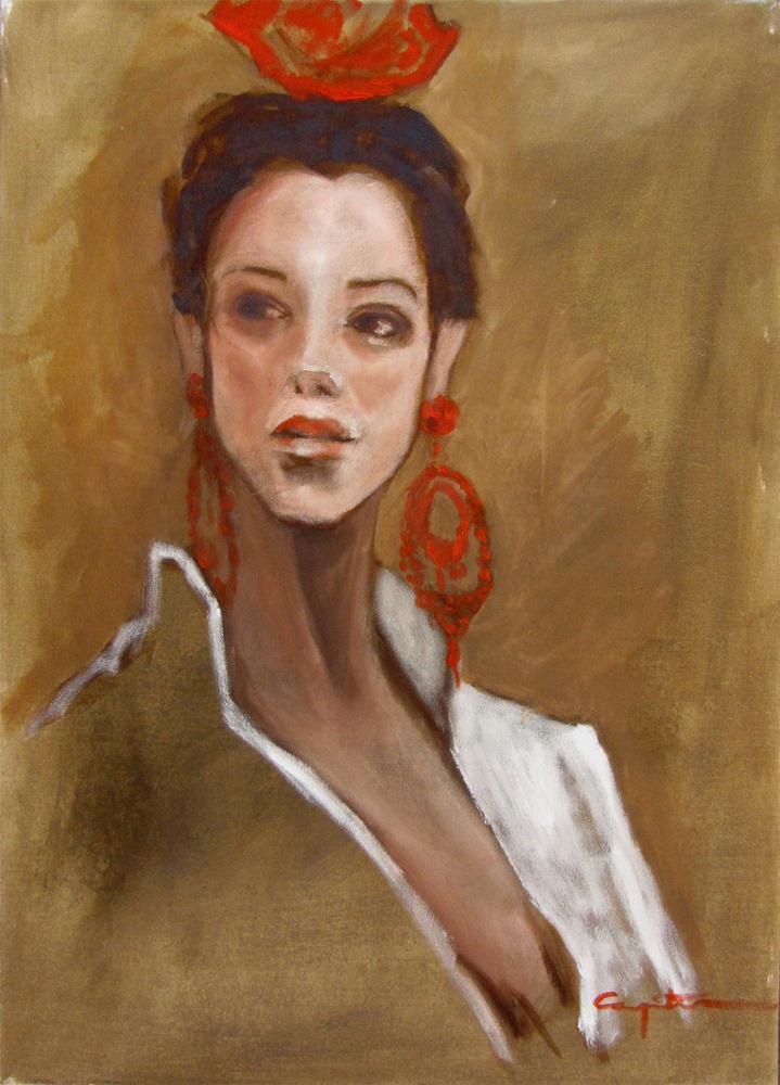 """Sevillana en feria"" original fine art by Eduardo Carpintero"