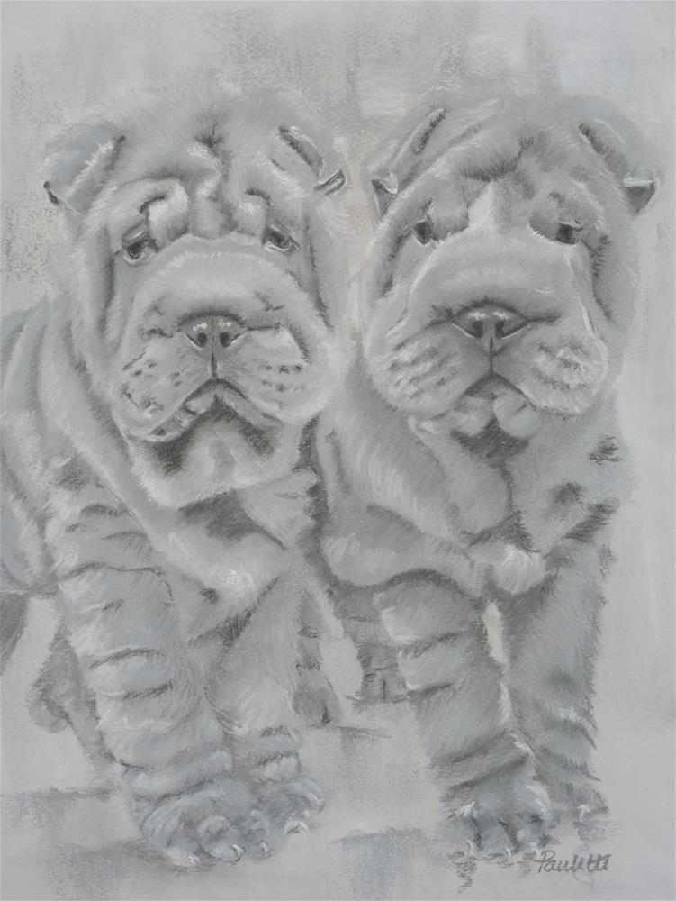 """Shar Pei Twins"" original fine art by Paulette Farrell"